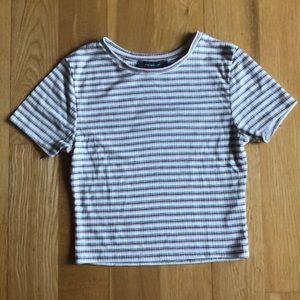 3/$30 Primark pink grey white striped crop top xs